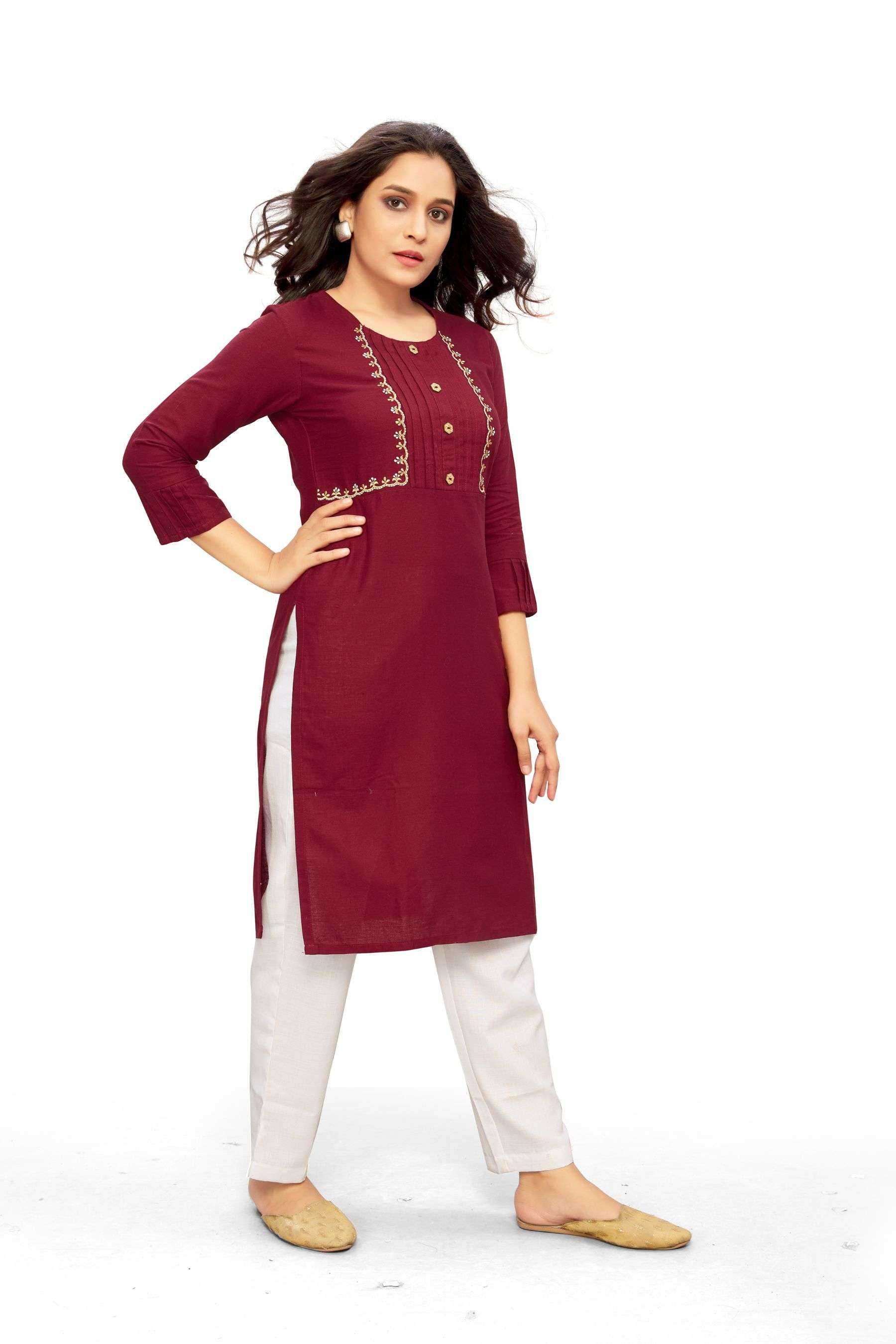 Dovi Fashion Presents Maroon Short Kurta With Jacket Pattern & Embroidery Work Collection