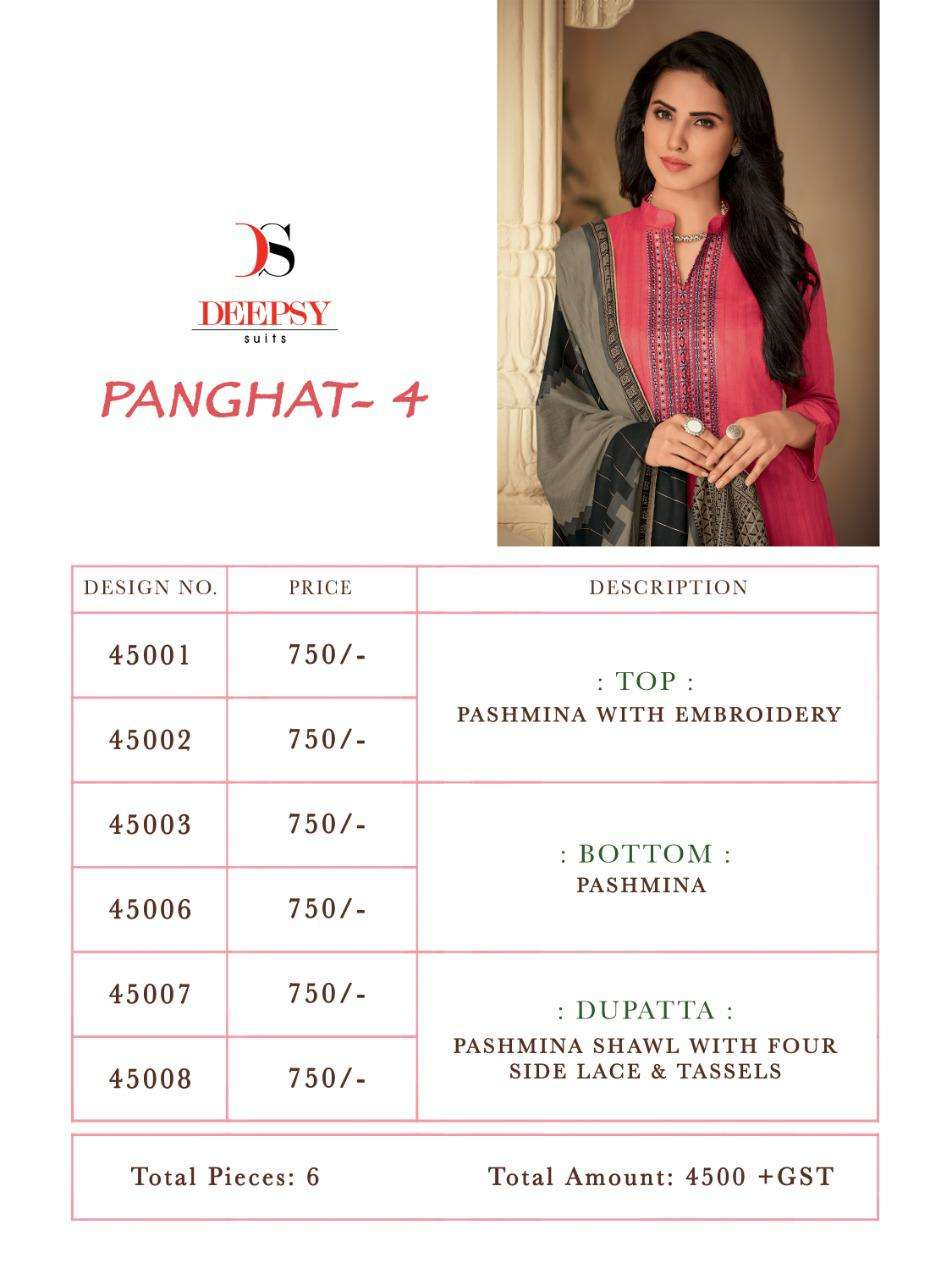 Deepsy Suit Panghat 4 Pashmina Attractive Print With Heavy Embroidery Look Salwar Suit Catalog Collection