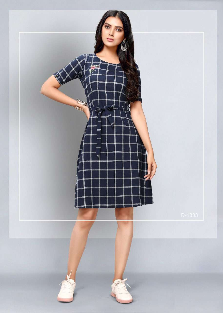 Dovi Fashion Presents Blue South Cotton Checks with Embroidery Work Dress Collection