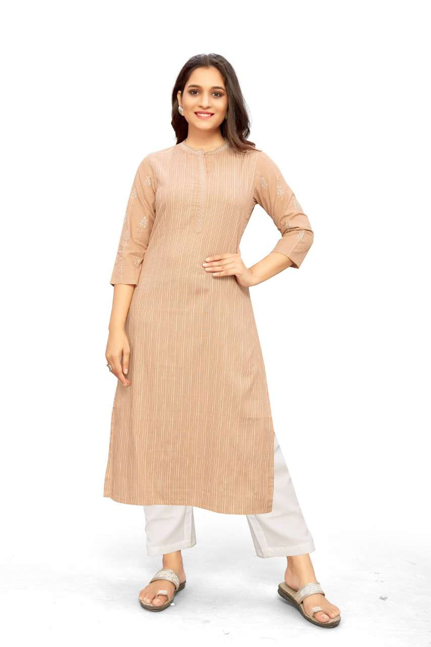 Dovi Fashion Presents The Test Of Premium Collection Dusty Color Stripes Kurti with Sleeve Work