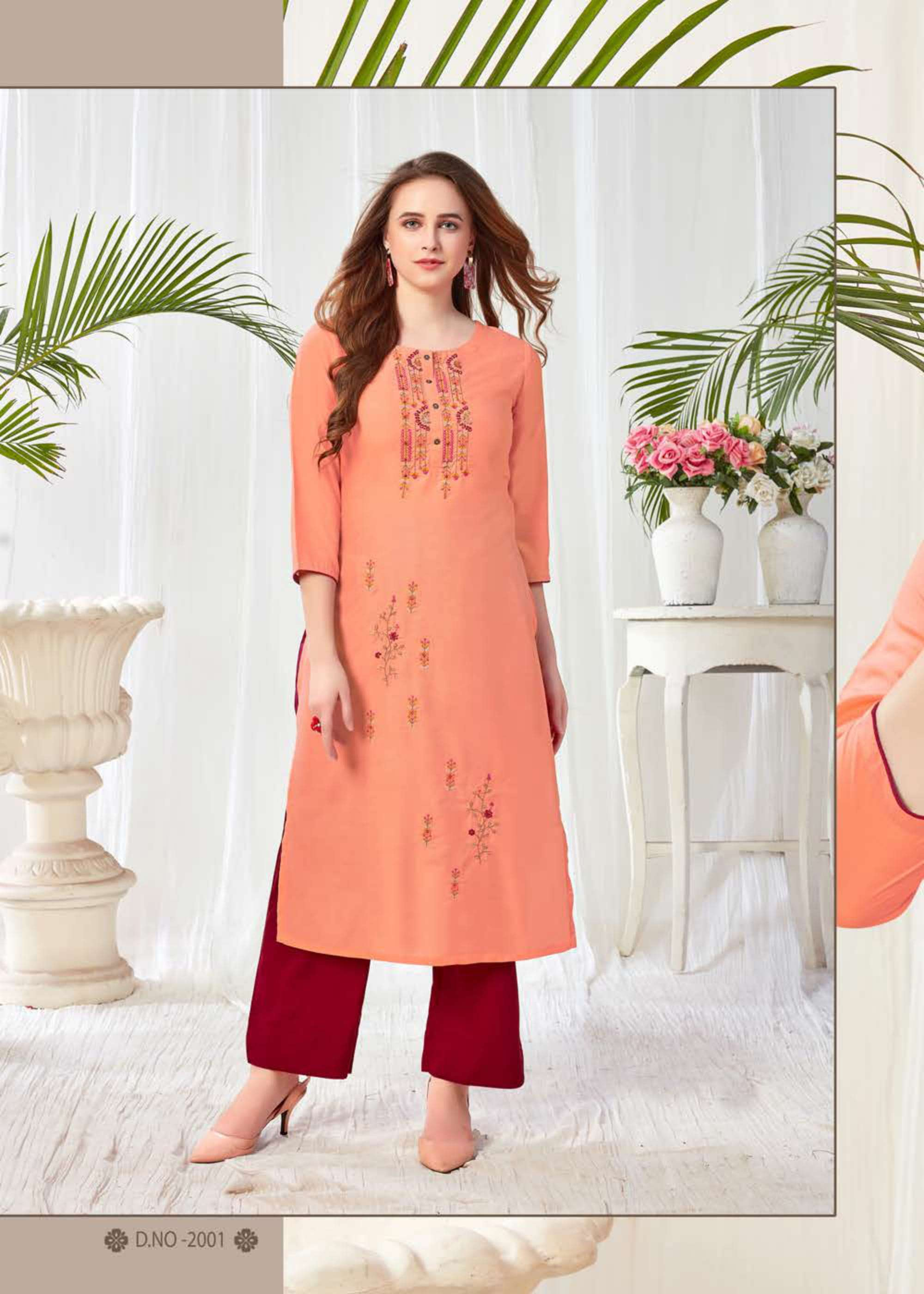 Joganiya Presenting Blush Vol-2 Embroidery Kurti With Plazzo Collection