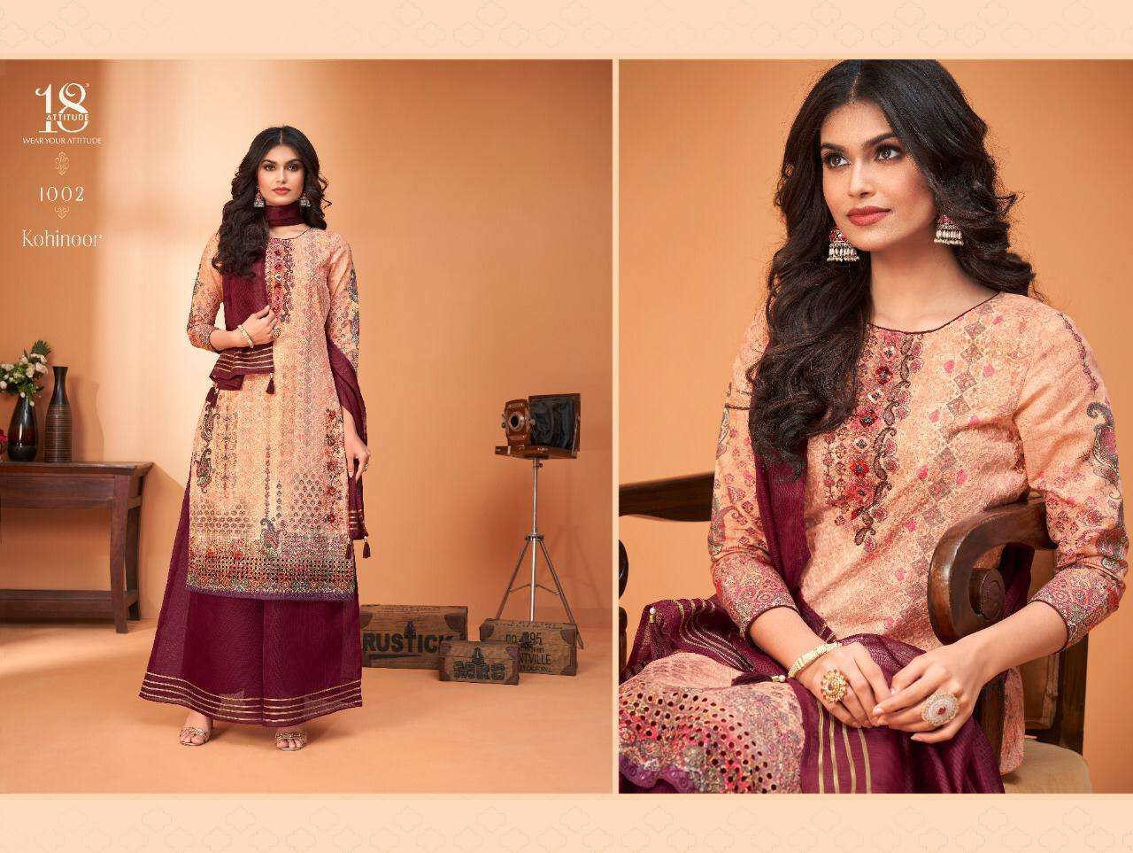 18 Attitude Launched Kohinoor Chiffli Cambric Cotton Print With Handwork Kurtis And Gharara Collection