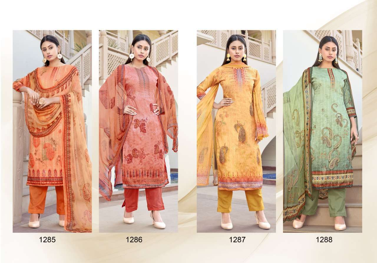 Bipson Silky 1285-1288 Series Cotton Satin Summer Wear Dress Materials Collection