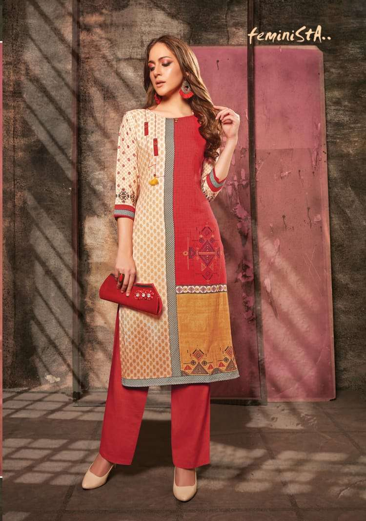 Feminista Florence 3 Rayon New And Modern Style Kurti With Pant Collection