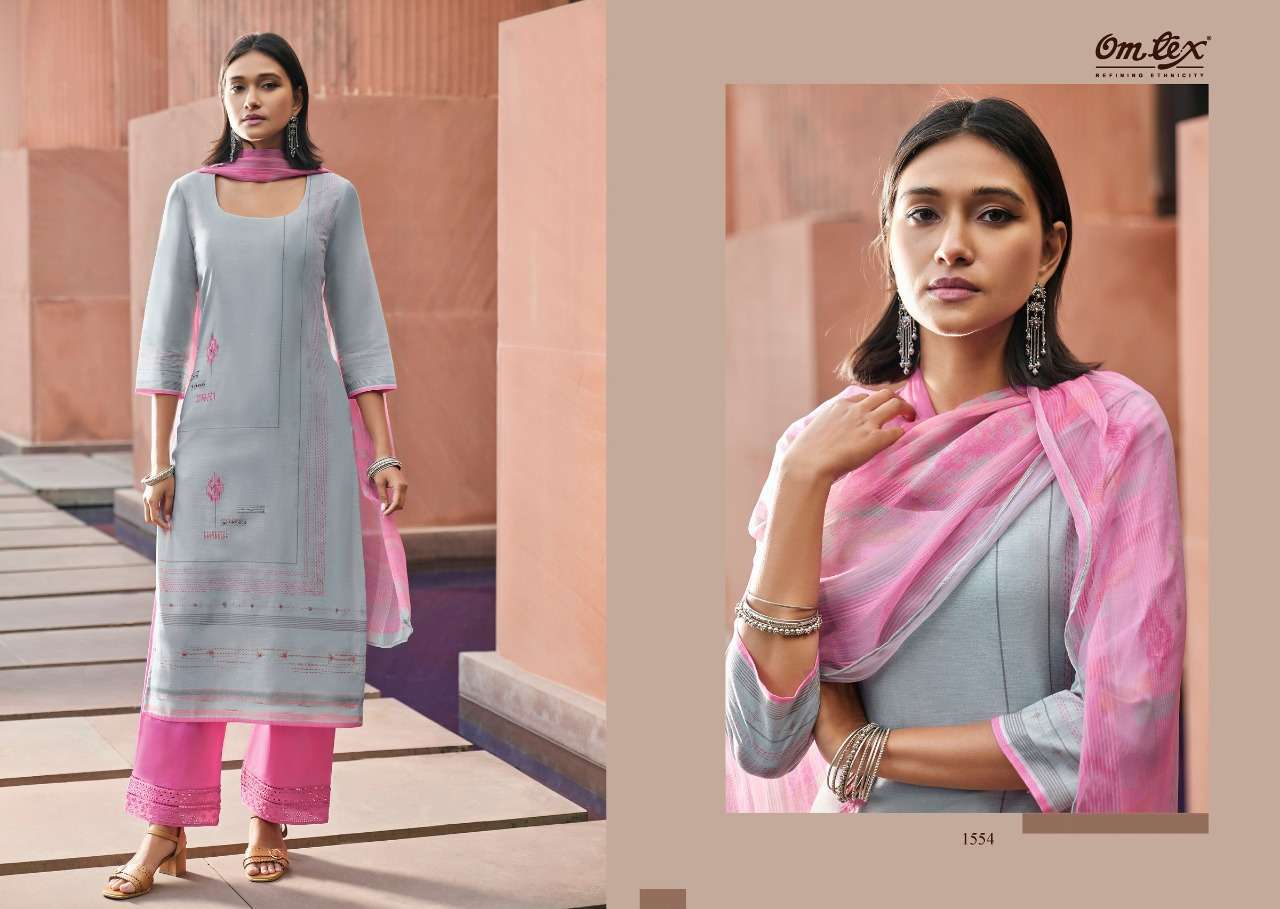 Helios By Om Tex Linen With Handwork Exclusive Suits Collection