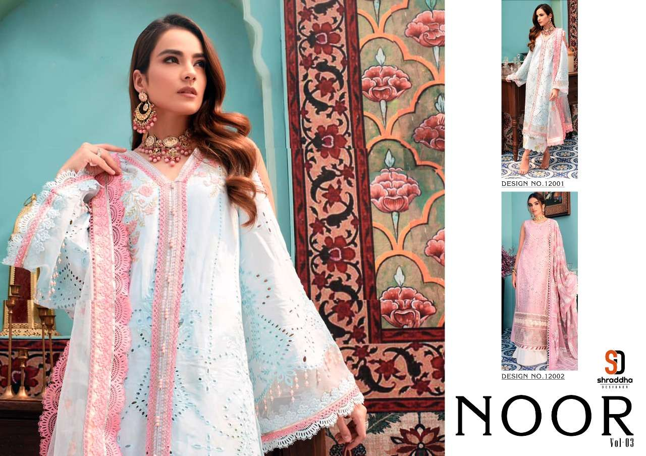 Shraddha Designer Launched Noor Vol-3 Cambric Cotton With Heavy Embroidery Chicken Work Pakistani Suits Collection