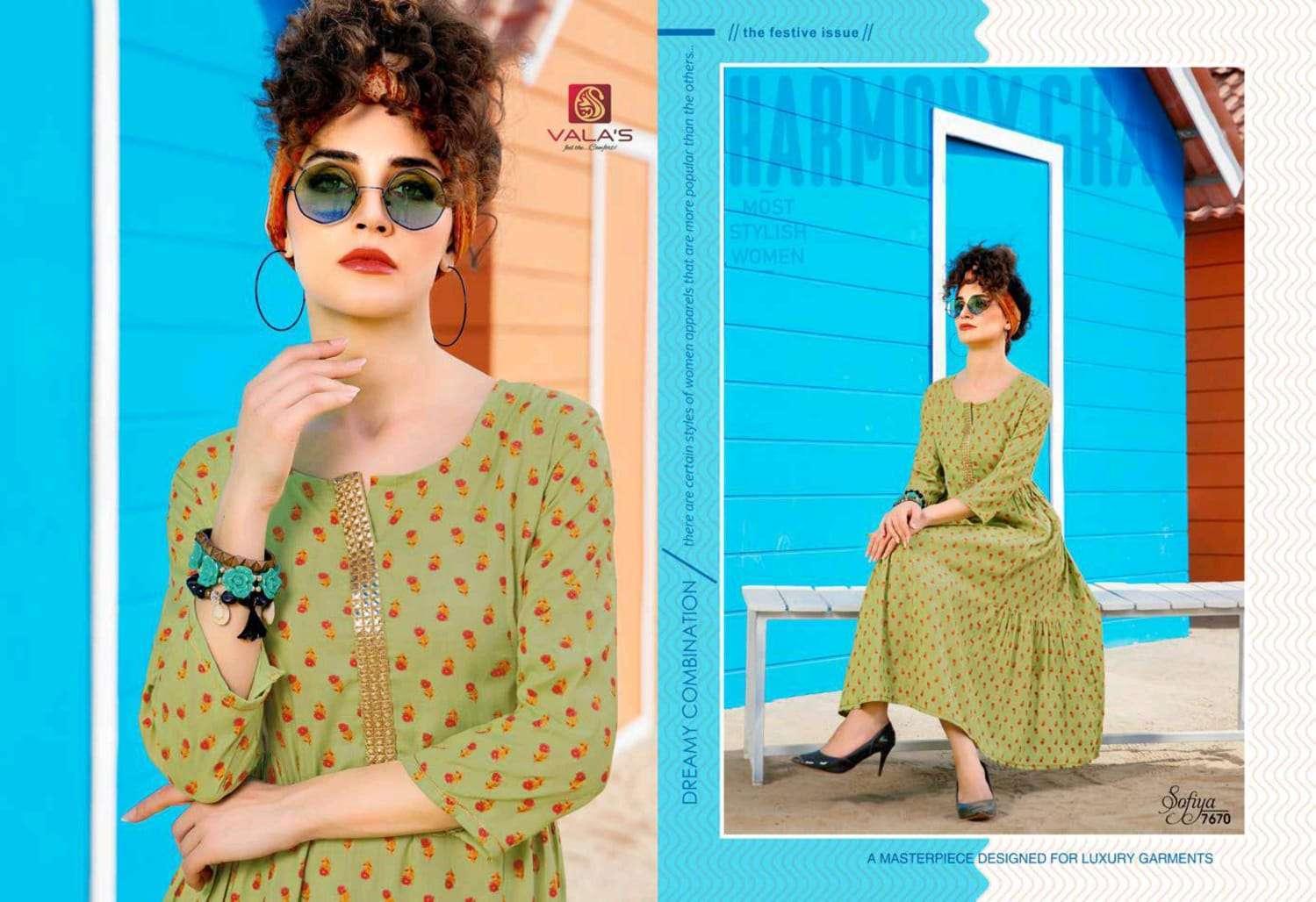 Valas Sofiya Rayon Print Anarkali Kurtis Collection
