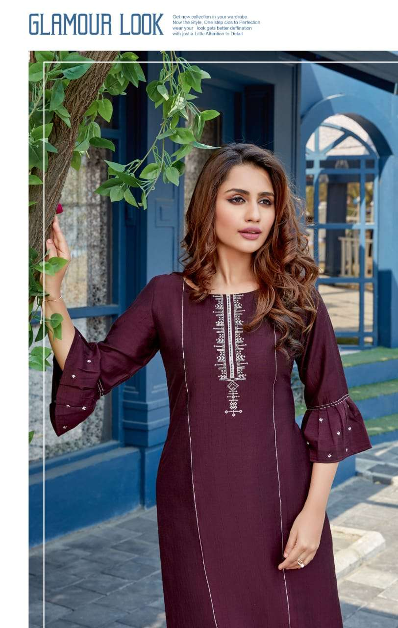 Wooglee Fashion Launched Celebration Vol-10 Heavy Rayon With Embroidery Handwork Kurtis Collection