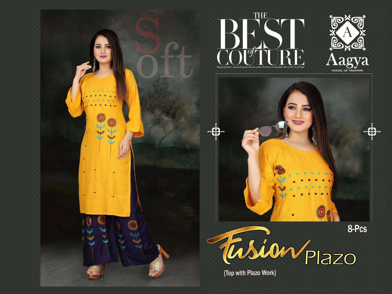 Aagya Fusion Plazzo Fancy Casual Wear Kurti With Bottom Catalog Collection
