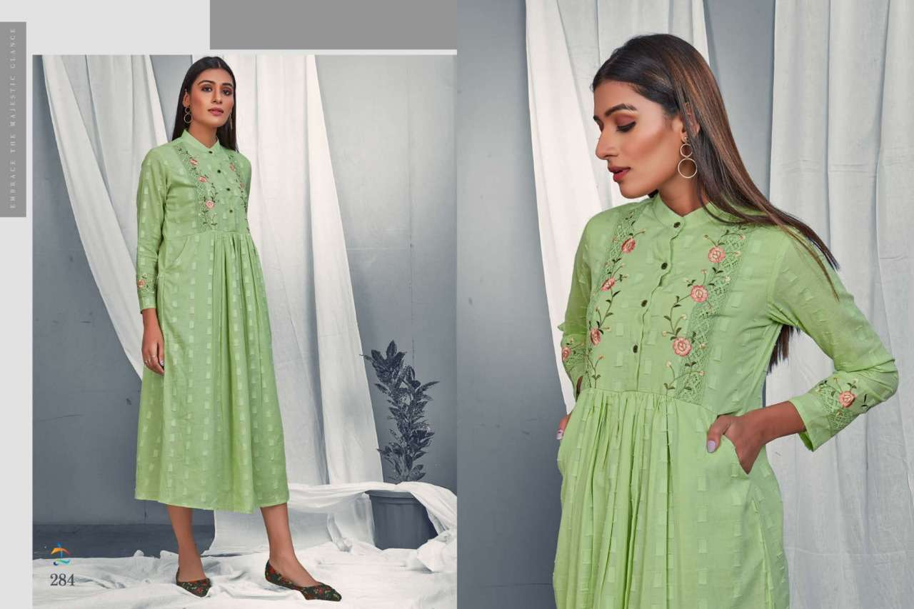 Dovi Fashion Presenting A-Line Frock Style Collared Neck Dobby Cotton Kurta With Kashmiri Work and Both Side Pocket Collection