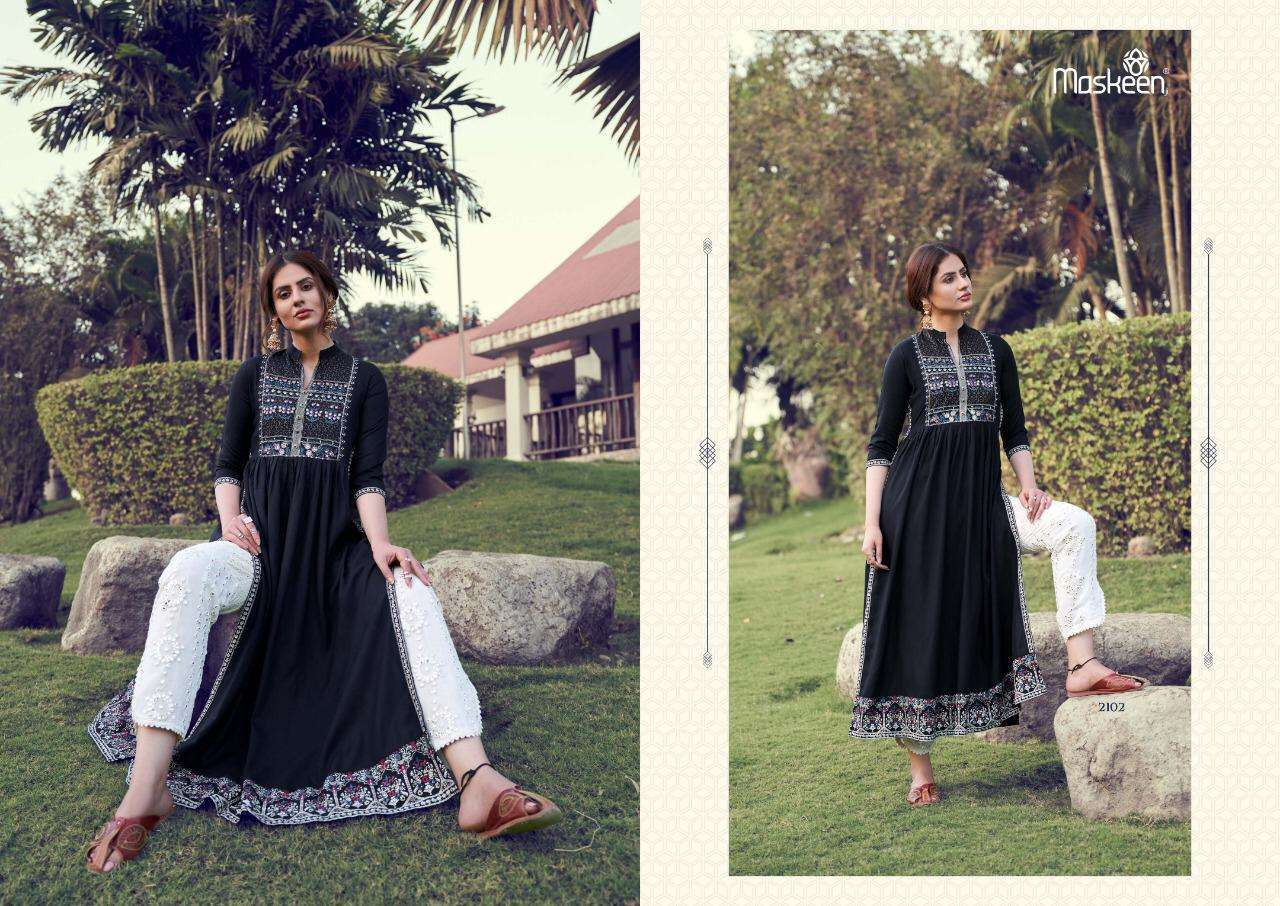Maskeen Monsoon Vol-2 Designer Lucknowi Work Kurti Pant Catalog Collection