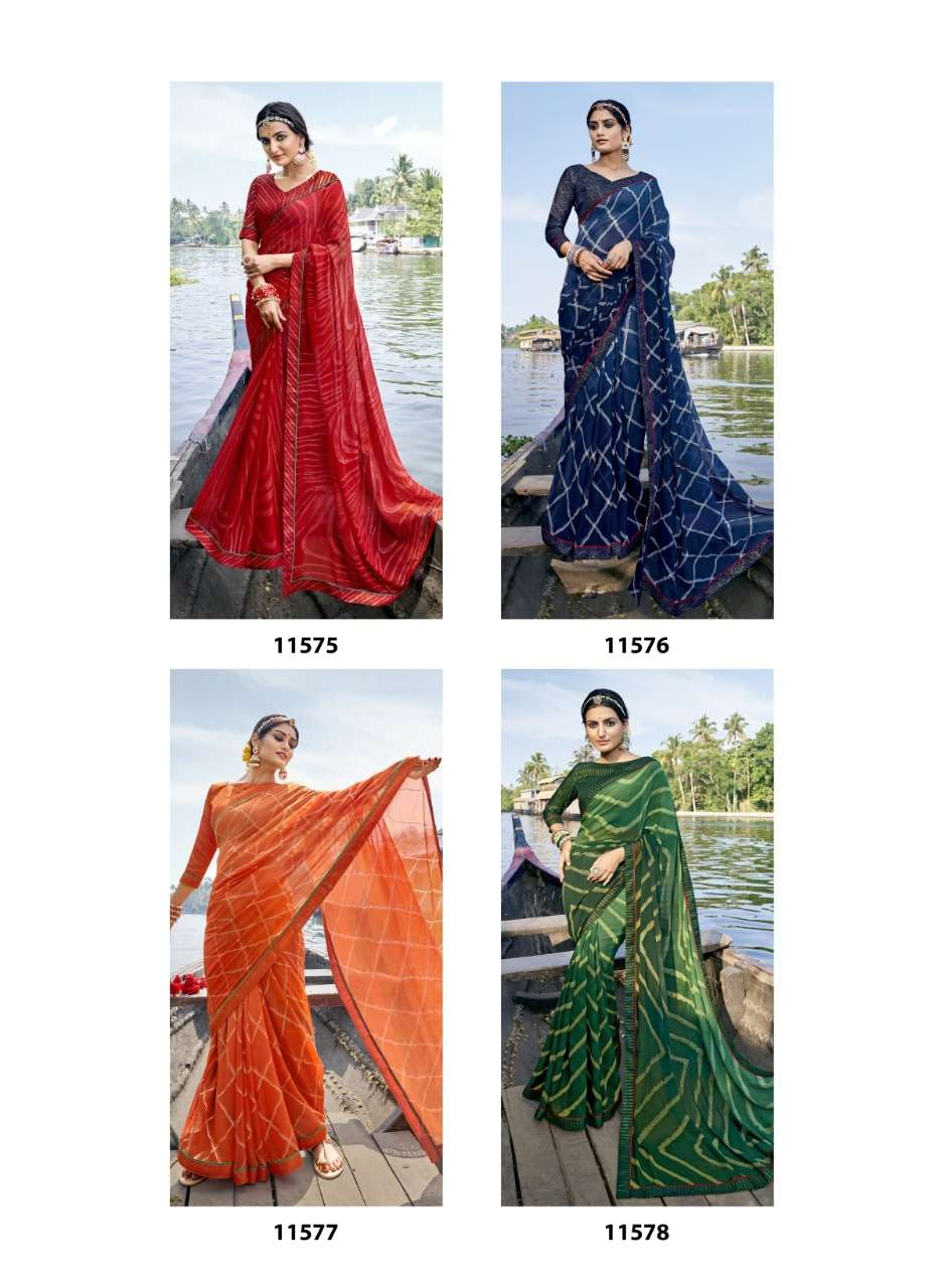 Vallabhi Prints Presenting Abhilasha Georgette Foil Printed Sarees Collection